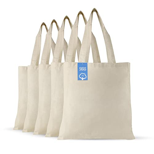 fb78c04c0b0d Simply Green Solutions Blank 100% Cotton Fabric Reusable Cloth Bags - Set of  5 -