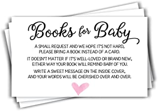 50 Pink Watercolor Heart Baby Shower Book Insert Request Cards (50-Cards)