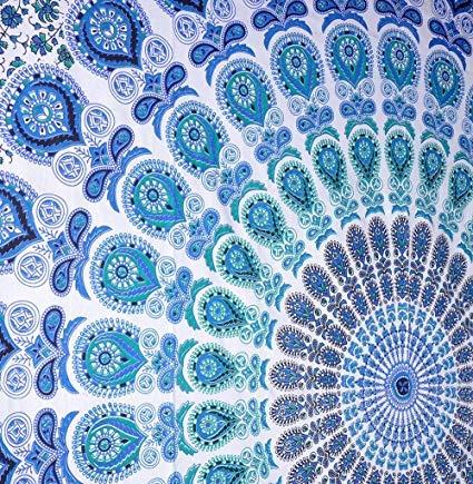 Zahra Premium Range Mandala Tapestry- 100% Cotton Bohemian Multipurpose Mandala Home Decor, Beach Throw, Picnic Blanket