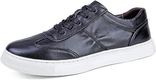 Easy Easy Easy Go Shopping Chaussures de Sport pour Hommes, Chaussures de Sport à Lacets, Style Ox, Cuir, Style décontracté, Texture plissée Chaussures de Cricket (Couleur   Noir, Taille   39 EU) 5dd