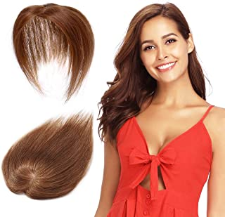 Remy Human Hair Silk Base Top Hairpieces Replacement Clip in Topper For Women Crown Top Piece Short 10''/10inch #6 Light Brown 20g