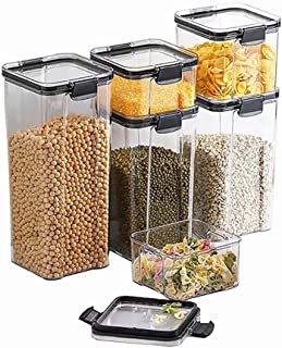 Haucy Lot de 6 Boite Hermetique Alimentaire Transparent, Boite de Conservation Alimentaire,Boite de Rangement Cuisine pour...
