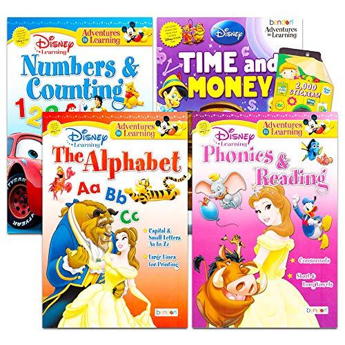 Disney Workbooks Super Set Kindergarten First Grade -- Bundle of 4 Workbooks with Reward Stickers (Disney Alphabet, Reading, Time, Money, Phonics, and More)