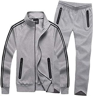 a5239b6e14 HORZEE Men's Exercise Kits Athletic Tracksuit Full-Zip Jogger Sports Set  Casual Sweat Suit Jacket&Pants