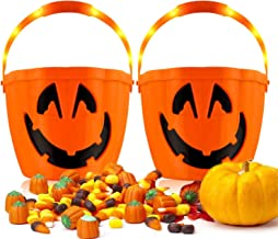 Halloween Pumpkin Candy Buckets with Handles, 2PCS LED Pumpkin Candy Pail Holder Trick-or-treat Party Favors, Halloween Go...