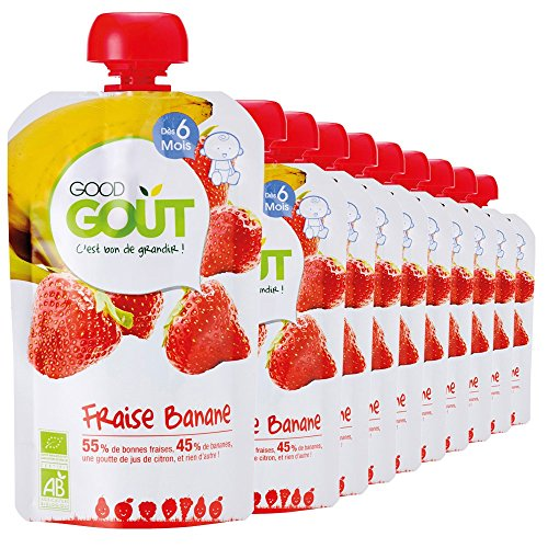 Good Goût - BIO - Gourde de Purée de Fruits Fraise Banane dès 6 Mois 120 g - Pack de 10