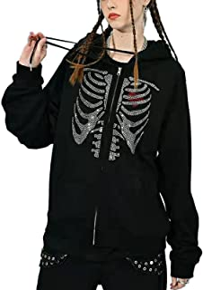 Womens Gothic Clothes Zip Up Goth Hoodie Skeleton Jacket Y2k Graphic Streetwear Sweatshirt Fall Coat