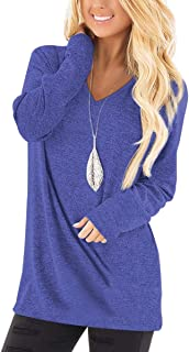 Tunic Tops for Leggings for Women Long Sleeve V Neck T Shirts Casual Loose Fit