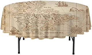 Island Waterproof Anti-Wrinkle no Pollution Old Ancient Antique Treasure Map with Details Retro Color Adventure Sailing Pirate Print Round Tablecloth D40 Inch Cream