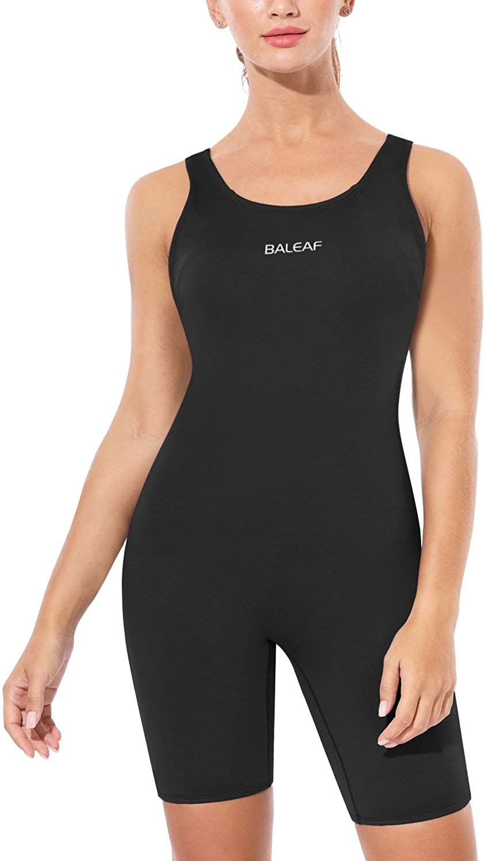BALEAF Womens Athletic One Piece Boyleg Swimsuits Racerback Workout Bathing Suit Splicing Swimwear