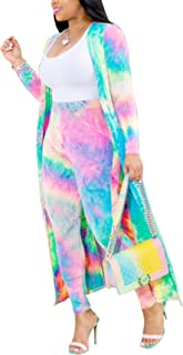 Women 2 Piece Outfit Floral Long Sleeve Open Front Kimono Cardigan and Bodycon High Waisted Long Pants Clubwear