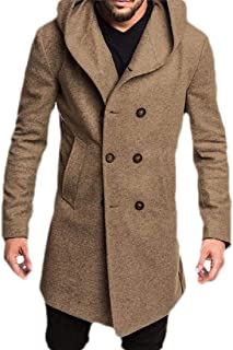 Macondoo Mens Woolen Outwear England Double Breasted Pea Coat Jacket