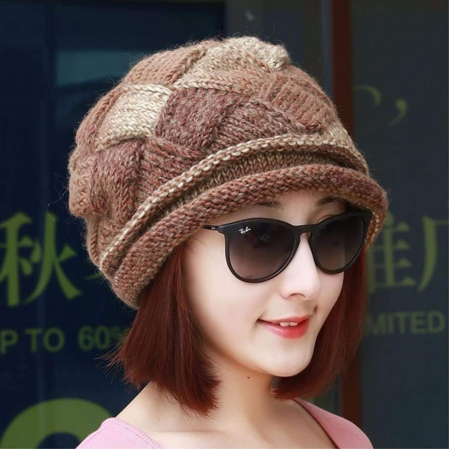 Chuiqingnet Hat female autumn and winter thick wool knitting hat knitting hat, ear cap Baotou hat
