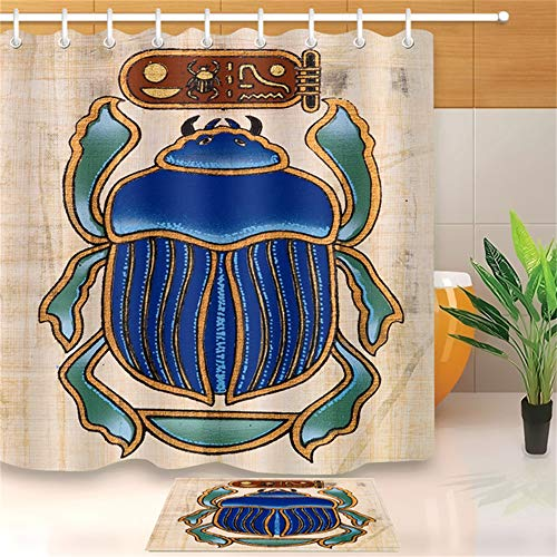ZLWSSA Cortina De Ducha A Prueba De Agua 3D Antiguo Escarabajo Azul Egipcio Escarabajo Dibujo De Papiro con Tela De Baño 180x240cm