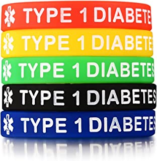 Mealguet Jewelry 5 Pack Assorted Colors Medical Alert Type 1/2 Diabetes Silicone Bracelets Wristband for Men Women,7.5