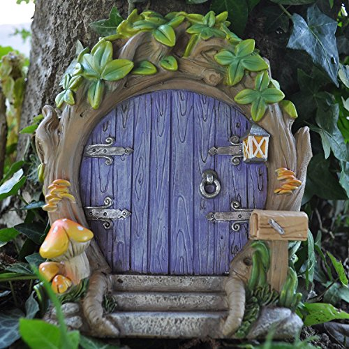 Giardino inglese delle fate, porta viola delle fate della foresta, grande e magica decorazione del giardino per elfi, folletti, fate, altezza: 17 cm