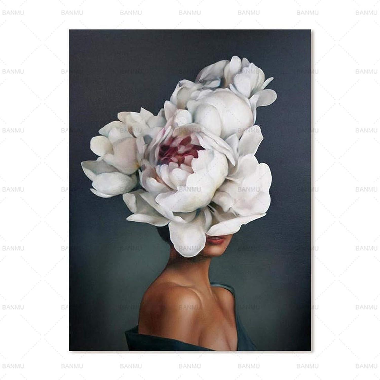 más vendido FENGJIAREN Impresión En Alta Alta Alta Definición Carteles E Impresiones Arte blancoo Flor Mujer Decoración Lienzo Pintura para Sala De Estar Decoración para El Hogar Sin Marco, 60 Cm × 90 Cm  edición limitada