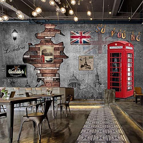 Britische nostalgische Tapete, nahtloses Wandgemälde des Retro- dreidimensionalen silk Stoffes 3D, Caféstangenhintergrund-Wand decoration-350X245CM