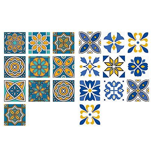 20 Piezas Patrón Floral Pegatinas de Baldosas,15x15cm Azulejos Vinilo Adhesivo Adhesivo Decorativo,Pegatina de PVC para Decorar Azulejos Para Cocina Baño Decoración del Hogar,Pegatinas de Azulejos DIY