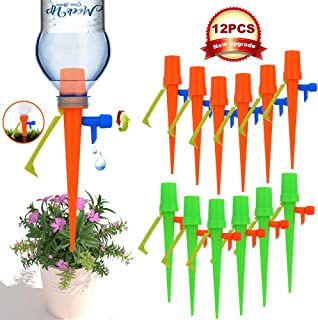 【New Upgrade】Plant Self Watering Spikes,Universal Self Watering Devices With Slow Release Control Valve Switch Plant Spikes System Suitable for All Bottle, Automatic Vacation Drip Irrigation Watering
