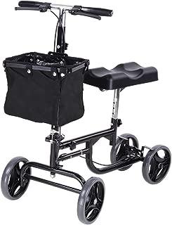 AW Adjustable Knee Scooter Walker w/Basket Steerable Rolling Wheel Weight Capacity 295 lbs