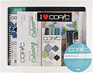 Copic Limited Edition Ciao Intro to Coloring Sketchbook Kit with Multiliner Pens, Sea Colors (IKIT2)