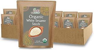 Jiva Organics Organic White Sesame Seeds 2.5 Pound Bulk Bag - Hulled, 100% Natural & Non-GMO (Pack of 12)