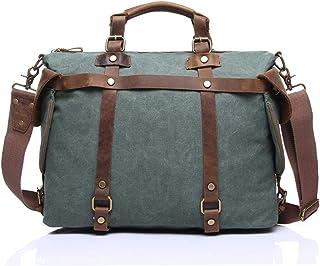 Retro Designer Mens Canvas Leather Satchel Messenger Shoulder Tote Bag Briefcase Large Capacity Cloth Bag,Green,40 * 29 * 15cm