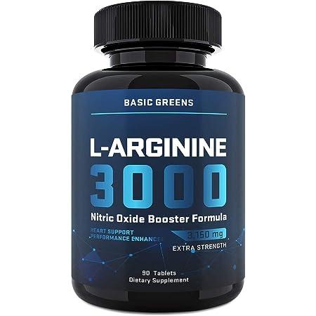 BASIC GREENS L Arginine - Arginine Supplement for Men (90 Tablets)