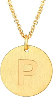Suplight Initial Letter Necklace A to Z, 18K Gold/Platinum Plated Alphabet Charm