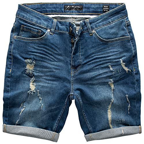 Amaci&Sons Herren Destroyed Jeans Shorts Kurze Hose Sommer Bermuda 7979 Used Blue W32