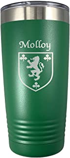 Molloy Irish Coat of Arms Stainless Steel Green Travel Tumbler