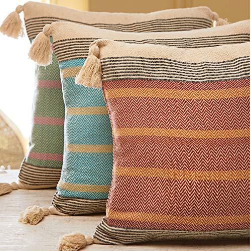 Indian Arts Malabar - Funda de cojín, diseño de rayas, 100% algodón algodón, Turquesa, 50 x 50cm