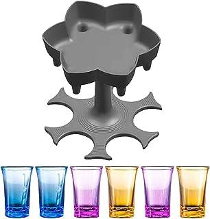 6 Shot Glass Dispenser and Holder - Cocktail Dispenser, Multiple Bar Shot Dispenser With 6PCS 1.2oz Acrylic Cups Drinking ...