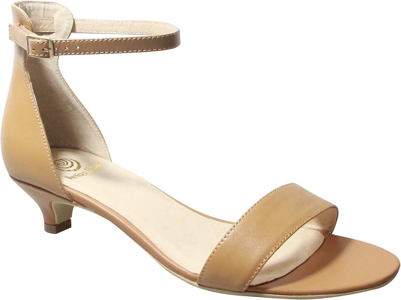 greenigo shoes Women's Jacqui Ankle Strap Leather Kitten Heel Sandal