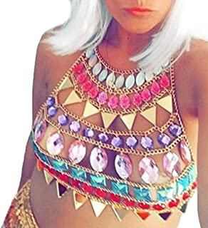 Victray Sequins Body Chain Beach Breast Chains Nightclub Chest Chain Fashion Body Jewelry Accessory Rave Harness Chains fo...