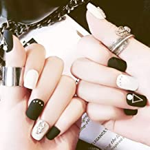 Barode Fake Nails Matte Black White Rivet Bead Square Full Cover Acrylic False Nails Punk Fashion Party Clip on Nails for Women and Girls
