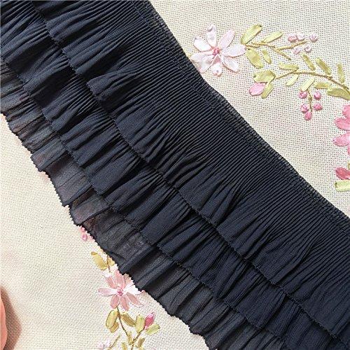 2 Yards 12cm Width 3-Layer Tiered Ruffle Pleated Chiffon Lace Fabric (Black)