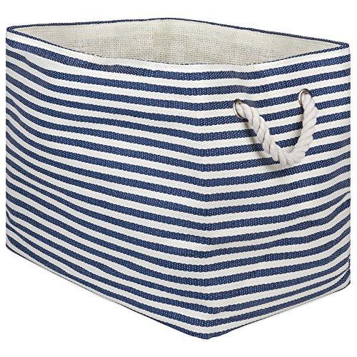 DII, Woven Paper Storage Bin, Collapsible, 17x12x12, Pinstripe Nautical Blue
