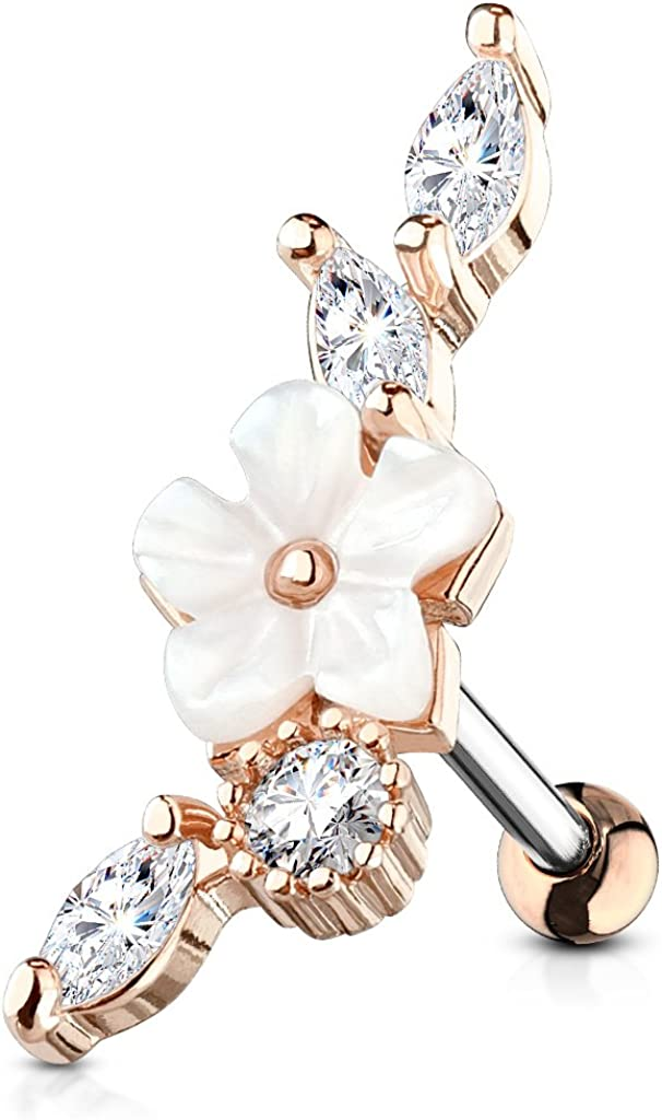 MoBody Clear CZ Jeweled Mother of Pearl Flower Tragus Earring Surgical Steel Cartilage Helix Piercing Stud 16G