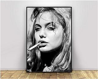 Angelina Jolie Smoking Girl Pop Pretty Sexy Woman Poster Bar Prints Wall Art Picture Living Room Decor Canvas -50x70cmx1pcs -Marco interior de madera