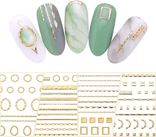 BornBeauty Gold 3D Nail Sticker Lines Multi-size Stripes Geometric Heart Nail Art Adhesive Transfer Stickers (1)