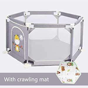 Baby Playards With Sturdy Bases Breathable Playpens Prevent Rollover Removable Safety Play Center For Beach Backyard Home Park Infant Toddlers Kids Products  Color Gray