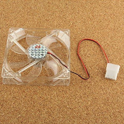 Accesorios de computadora Ventilador de refrigeración Transparente de 120 mm y 4 Pines con Conectores Dobles, Construido en Azul, 4 Luces LED Refrigeración por Ventilador