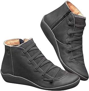 YONEER Botines de Cuero Otoño Vintage con Cordones Zapatos