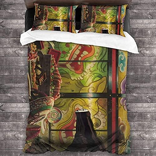 Spirited Away Art Studio Ghibli - Juego de ropa de cama (funda nórdica y 2 fundas de almohada, ropa de cama suave, regalo para niños (220 x 240 cm + 50 x 75 cm x 2,A02)