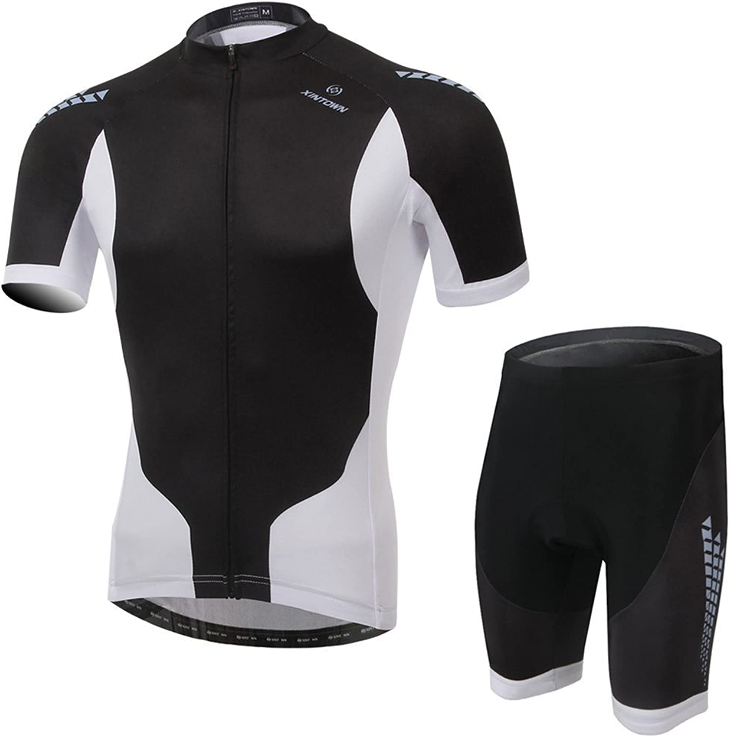 BESYL Unisex Black White Printed HighPerformance Mesh Cycling Clothing Kit, Cycling Jerseys Short Sleeve and Padded Shorts Suit for Bike, Biker, Bicycle, Riding