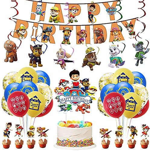 Juego de decoración de cumpleaños de Paw Dogs Patrol, guirnalda de cumpleaños, decoración de tartas, globos de látex, decoración para colgar, diseño de patrulla canina