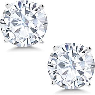 Charles & Colvard Forever Classic 6mm 1.60cttw DEW White Created Moissanite 14K White Gold Friction Back Round 4 Prong Stud Earrings