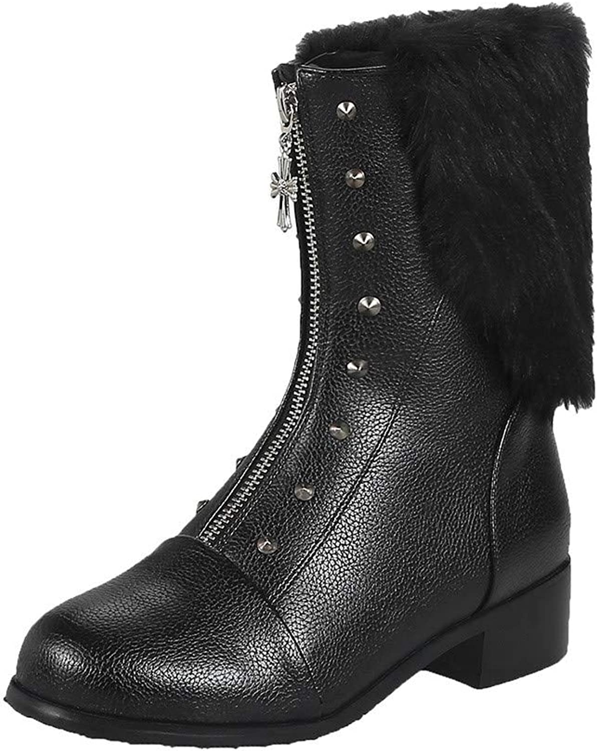 Clearance Womens Boots,Realdo Women Solid Mid Heel Platform Leather Warm Martin Boot